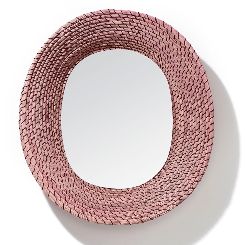 Killa oval mirror pink & dark red ames