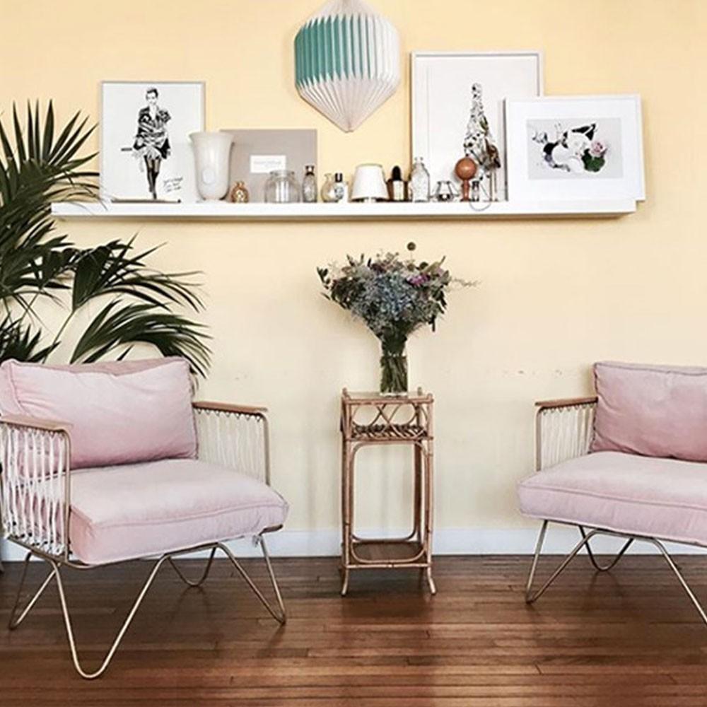 Croisette armchair powder pink velvet Honoré