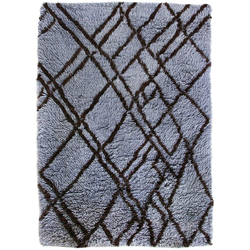 Woolen berber rug grey & blue 180 x 280 cm HKliving