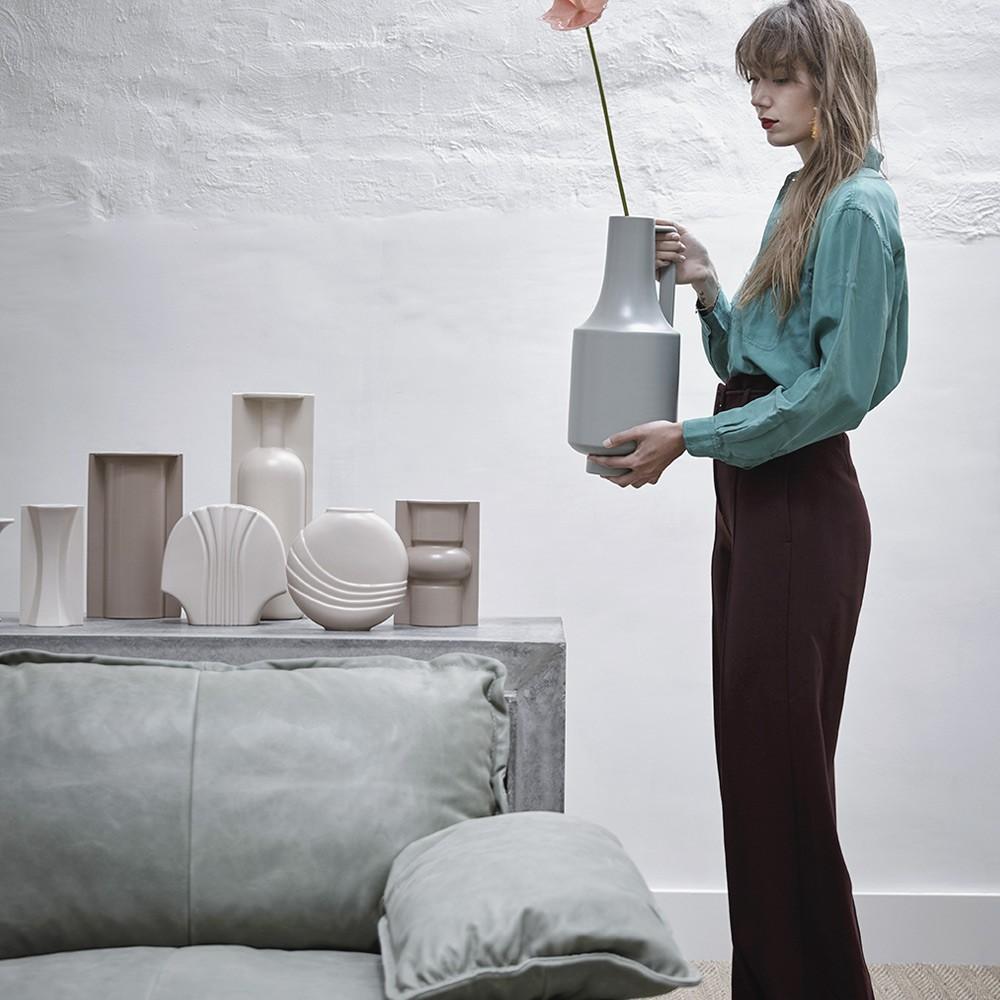 Ceramic vase green with handle HKliving