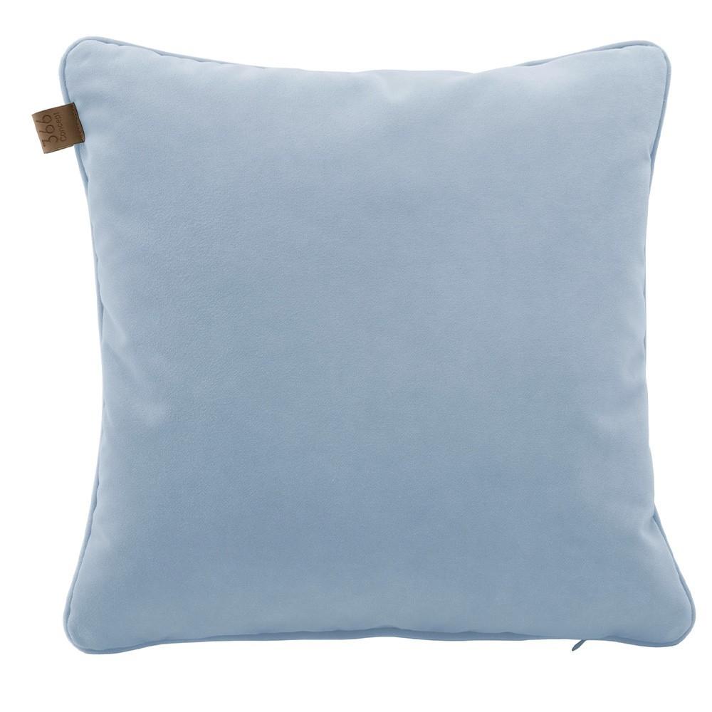 Vierkant kussen van hemelsblauw fluweel 366 Concept