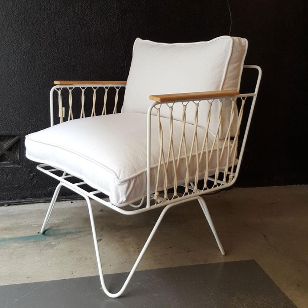 Croisette armchair white cotton Honoré
