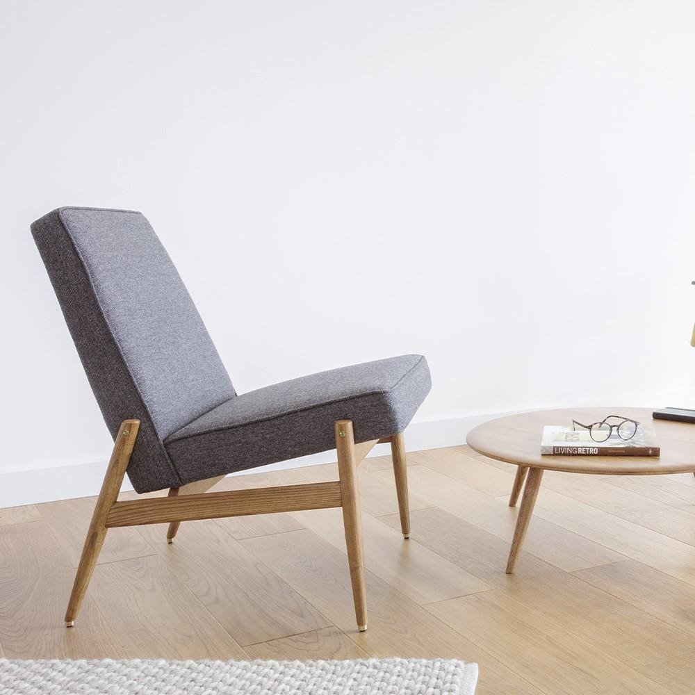 Fox Club Chair wool grey & black 366 Concept