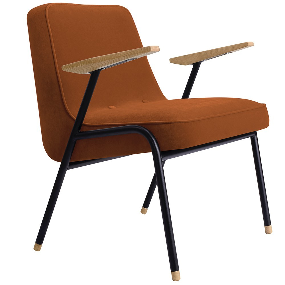 366 armchair Metal Velvet red brick 366 Concept