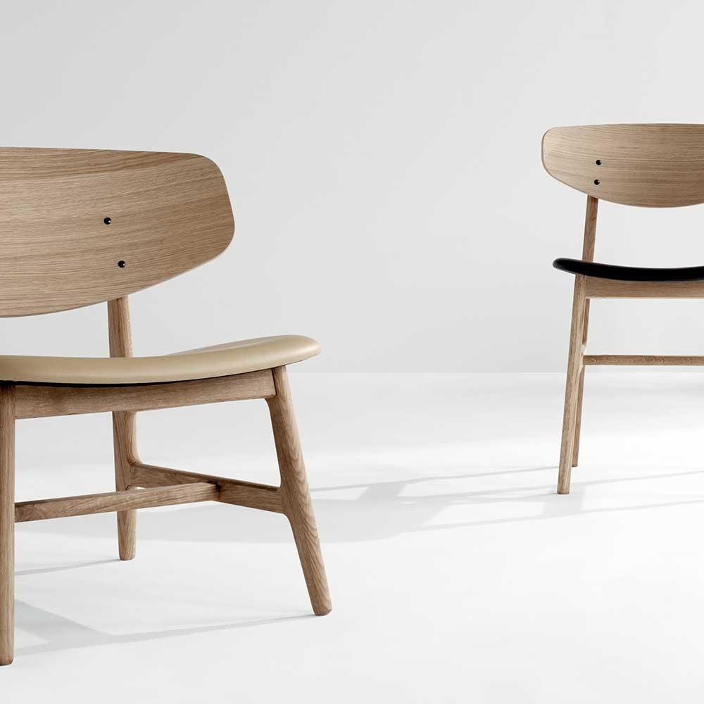 Siko lounge chair oak & cognac Houe