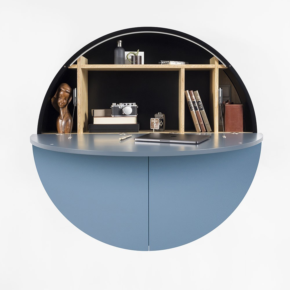 Pill wandbureau blauw & zwart Emko