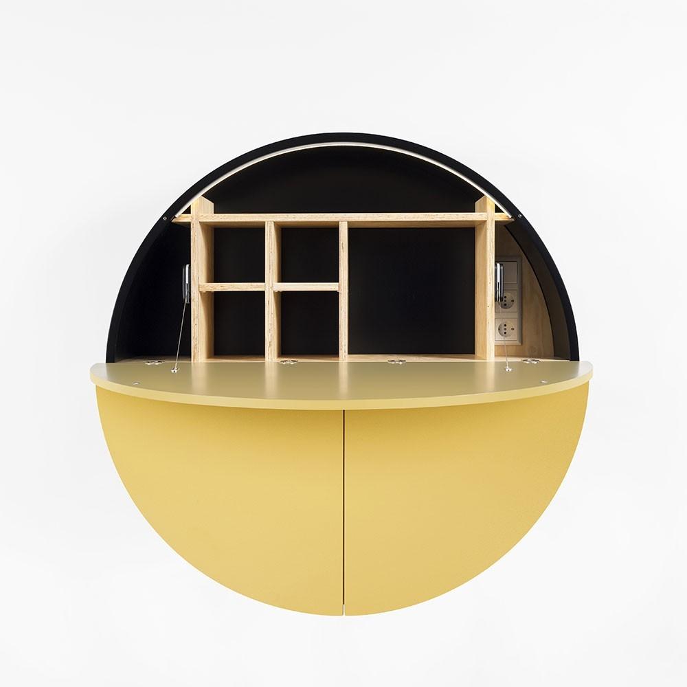 Pill wall desk yellow & black Emko