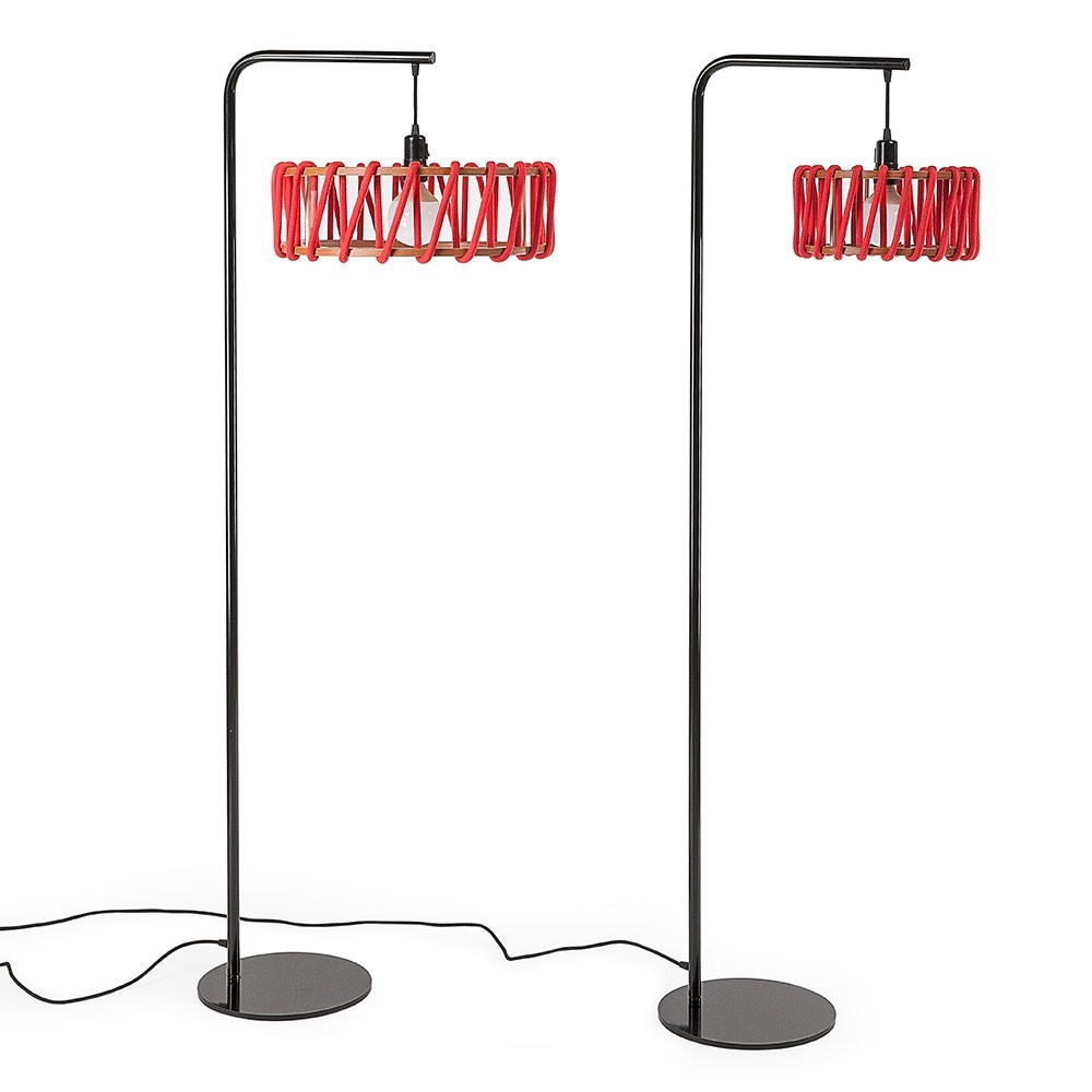 Macaron floor lamp black & red S Emko
