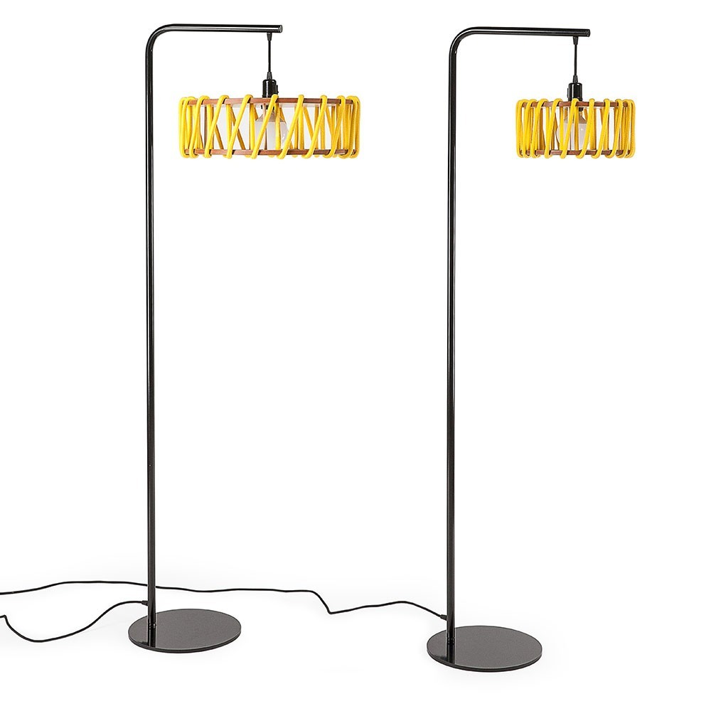 Macaron floor lamp black & yellow L Emko