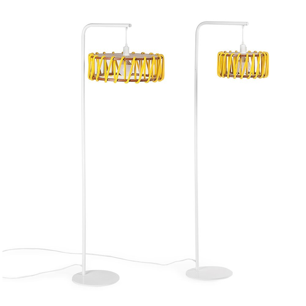 Macaron floor lamp white & yellow S Emko