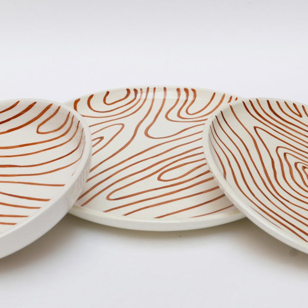 Deep plate faux-wood white (set of 6) Datcha