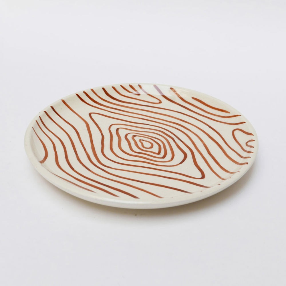 Plate faux-wood white S (set of 6) Datcha