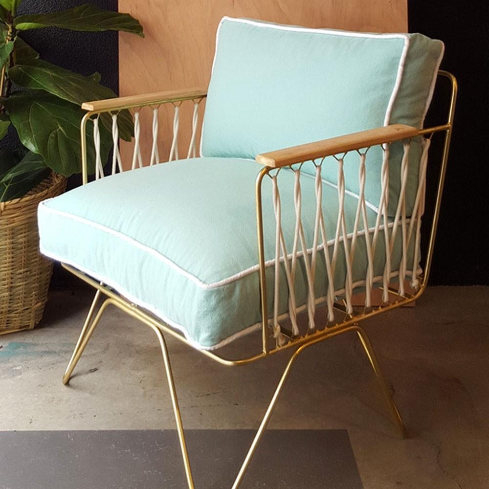 Croisette armchair green water cotton Honoré
