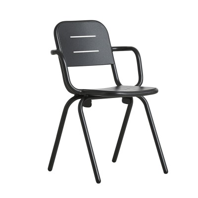 Ray café armchair charcoal black (set of 2) Woud