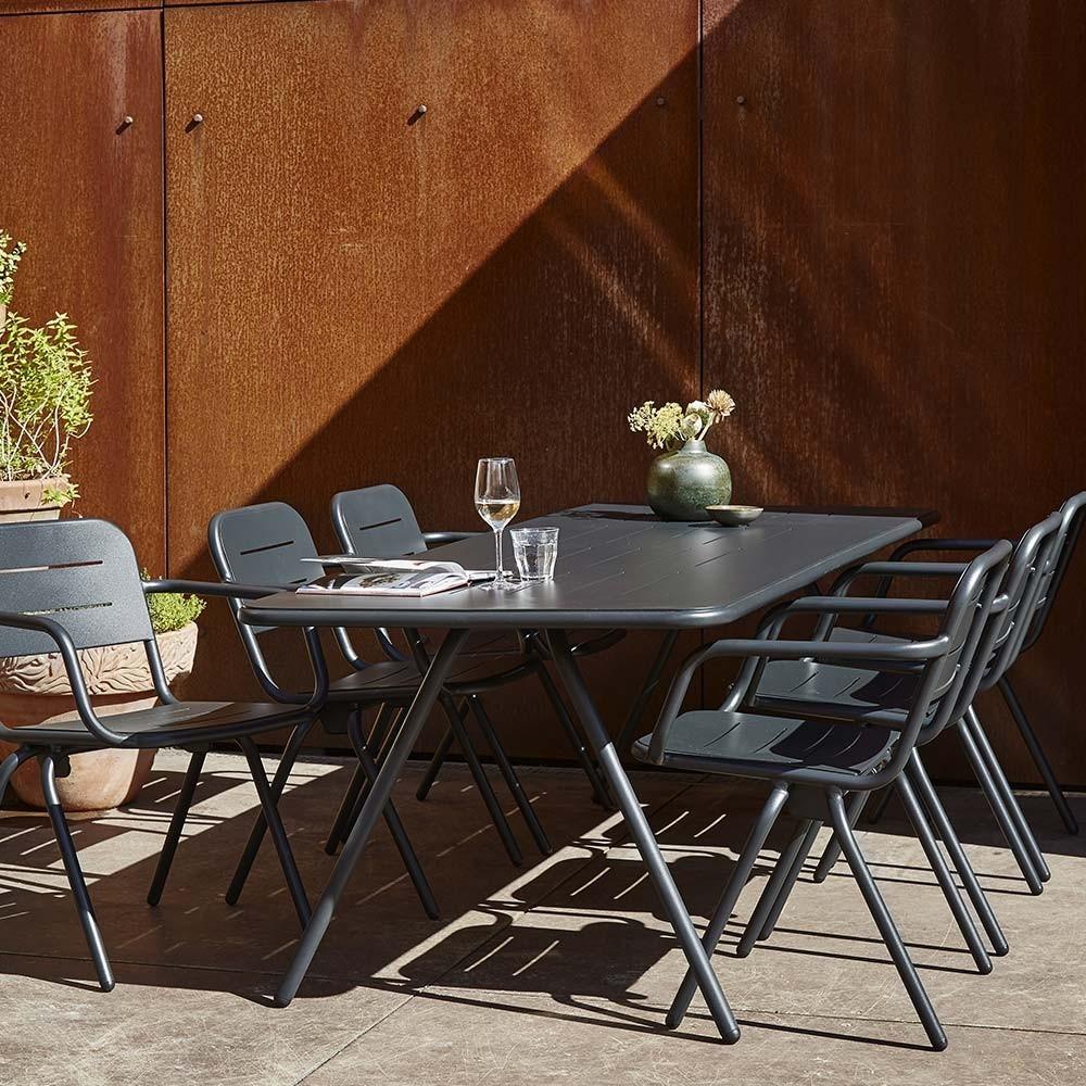 Table à manger Ray noir charbon 160 cm Woud