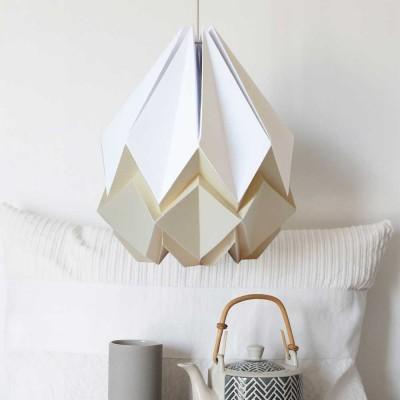 Hanglamp Hanahi in wit papier en vanille Tedzukuri Atelier