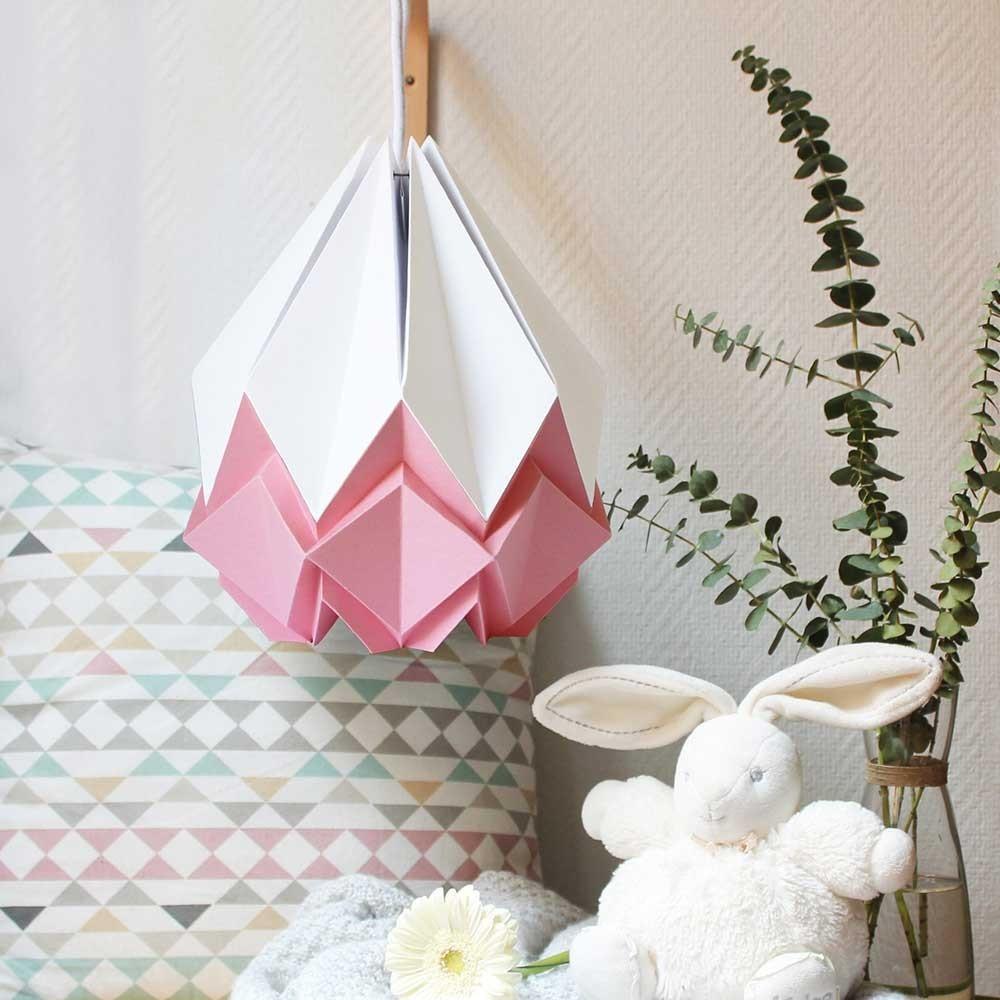 Suspension Hanahi papier blanc & rose Tedzukuri Atelier