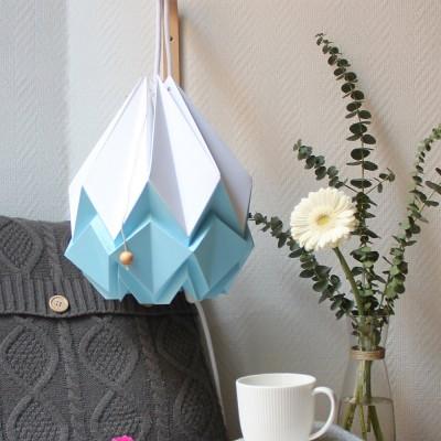 Hanahi hanglamp wit & hemelsblauw papier Tedzukuri Atelier