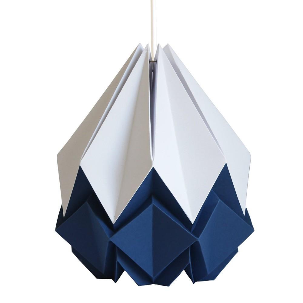 Hanahi pendant lamp paper white & navy blue Tedzukuri Atelier