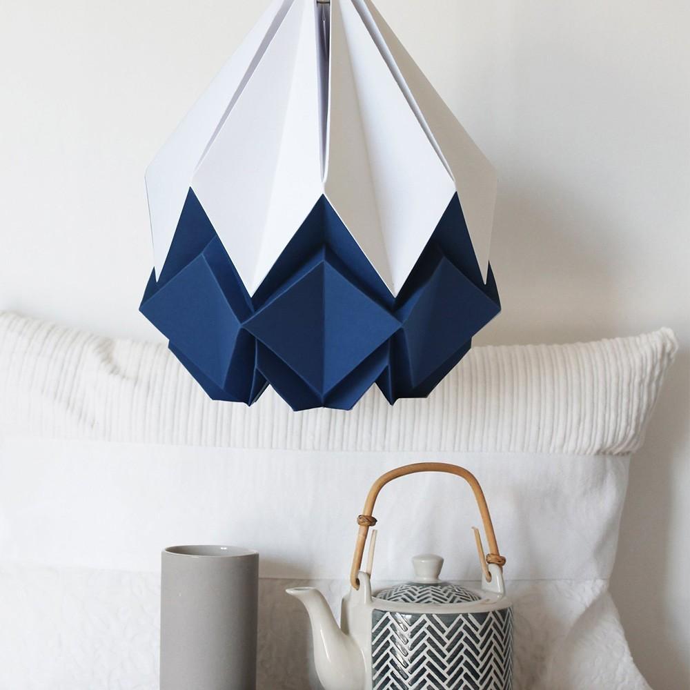 Hanahi hanglamp wit & marineblauw papier Tedzukuri Atelier