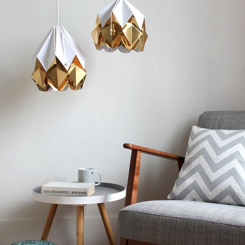 Hanahi hanglamp wit & goud papier Tedzukuri Atelier