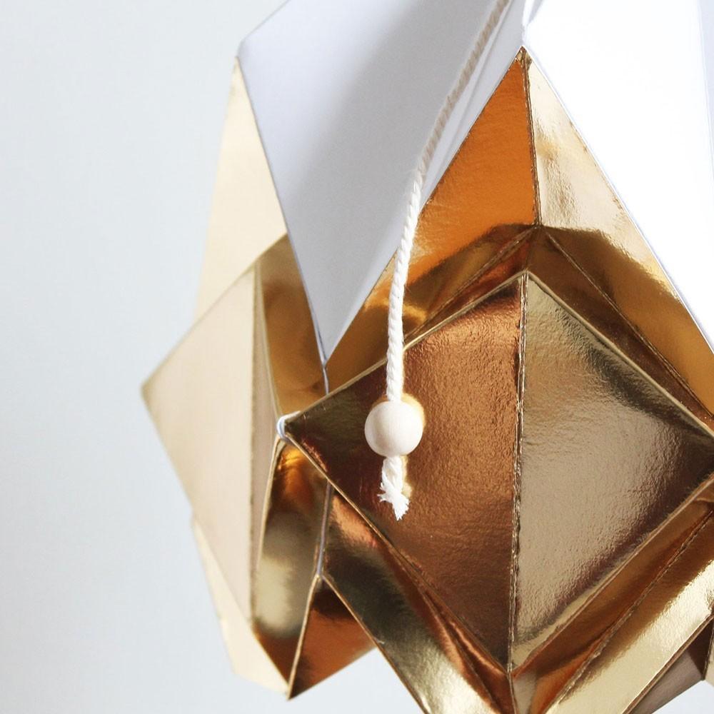 Hanahi pendant lamp paper white & gold Tedzukuri Atelier