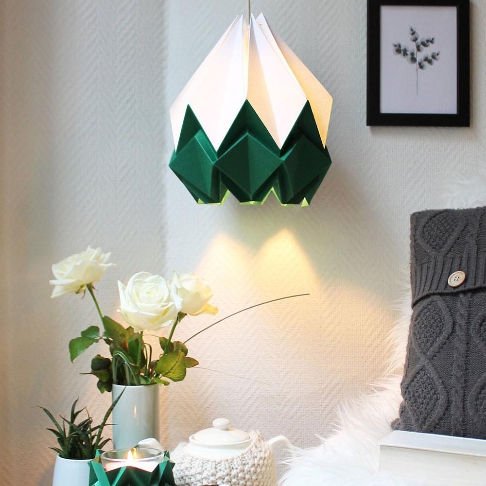 Hanahi pendant lamp paper white & forest green Tedzukuri Atelier