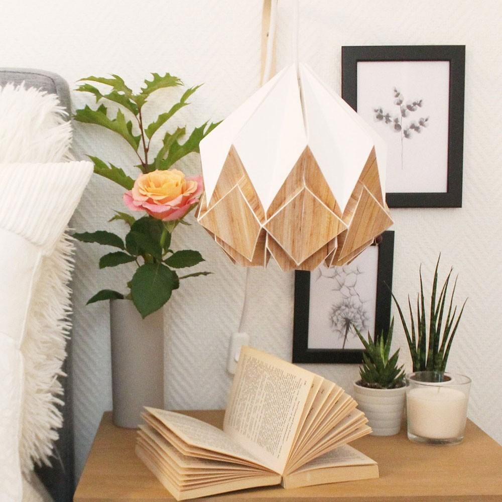 Hanahi pendant lamp paper white & wood Tedzukuri Atelier