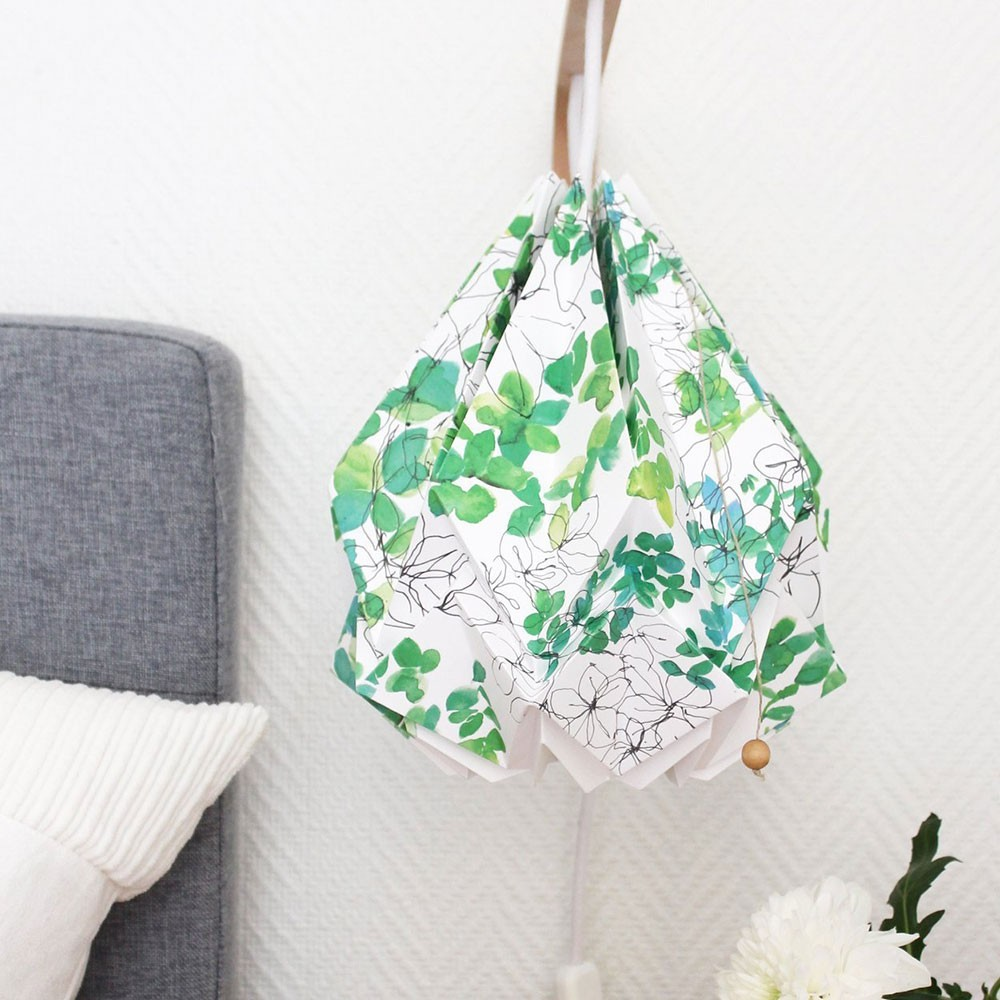 Hanahi pendant lamp paper spring pattern Tedzukuri Atelier