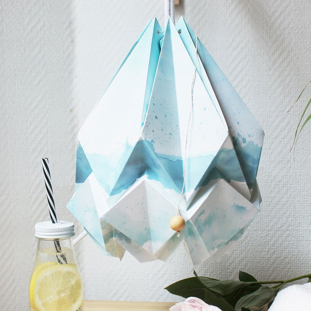 Hanahi pendant lamp paper summer pattern Tedzukuri Atelier