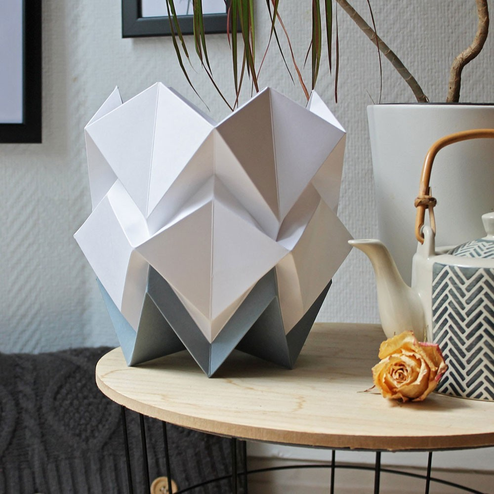 Hikari table lamp paper white & dark grey Tedzukuri Atelier