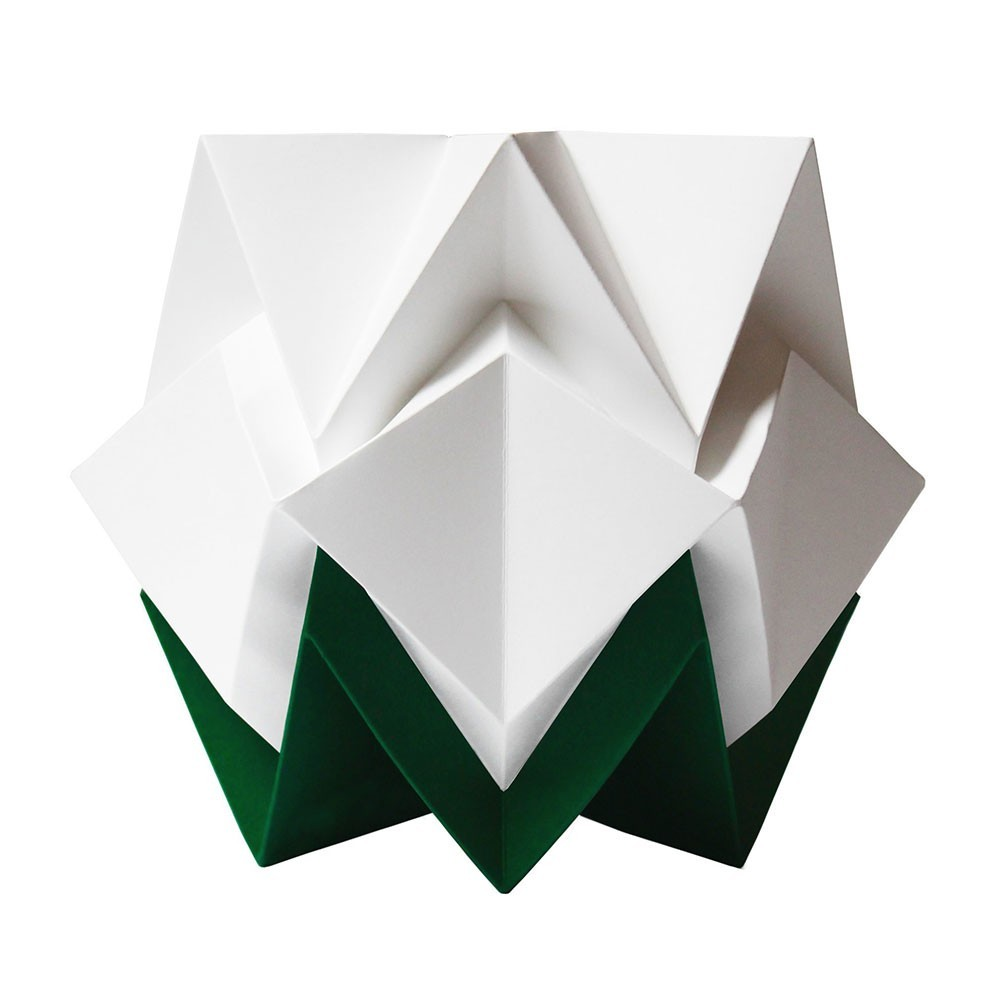 Hikari tafellamp wit papier & dennengroen Tedzukuri Atelier