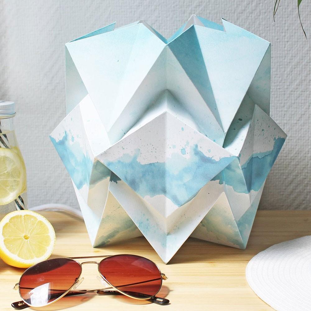 Hikari table lamp paper summer pattern Tedzukuri Atelier