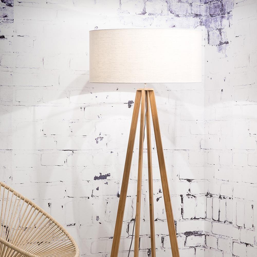 Witte linnen vloerlamp Everest Good & Mojo