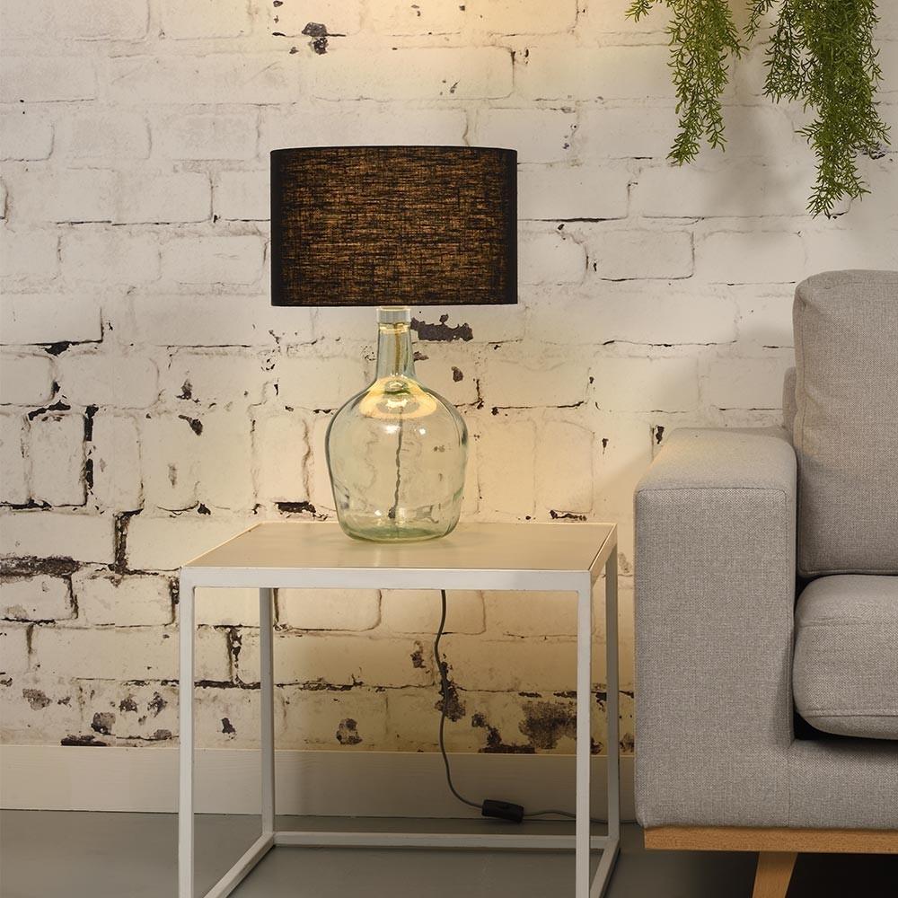Murano tafellamp zwart linnen S Good & Mojo