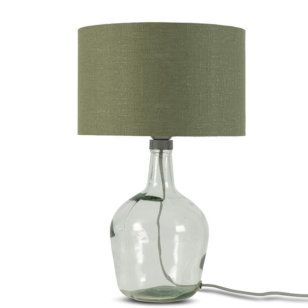 Murano tafellamp bosgroen linnen S Good & Mojo