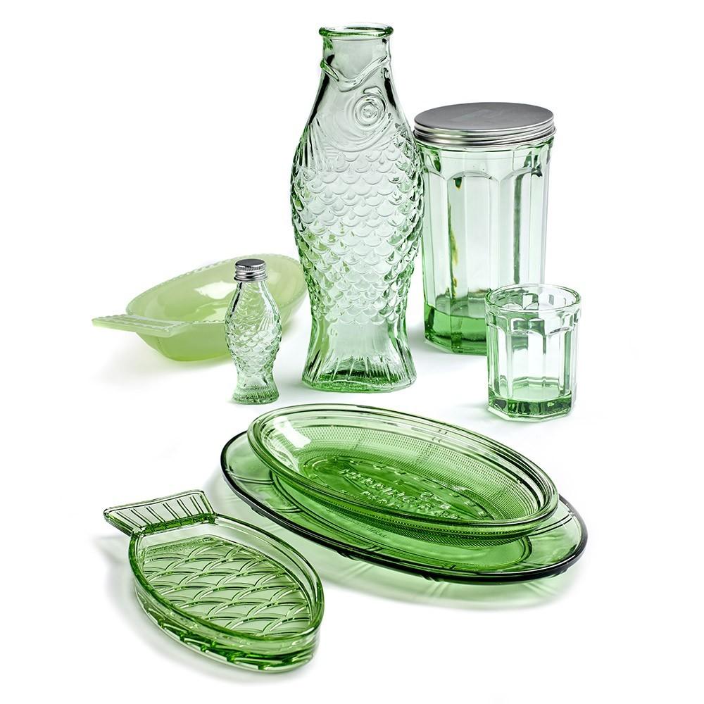 Fish & Fish glass L transparent green (set of 4) Serax