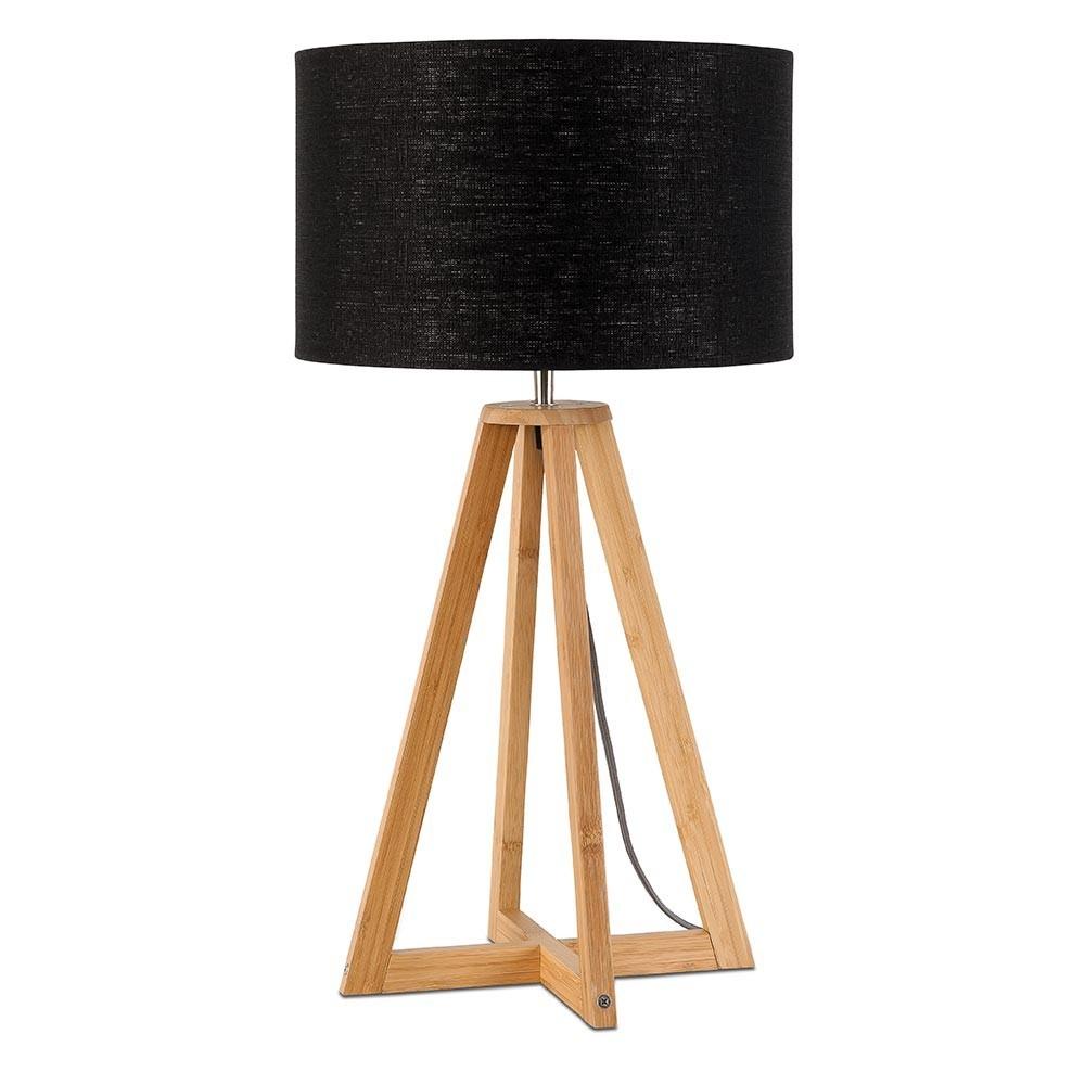 Zwart linnen tafellamp Everest Good & Mojo