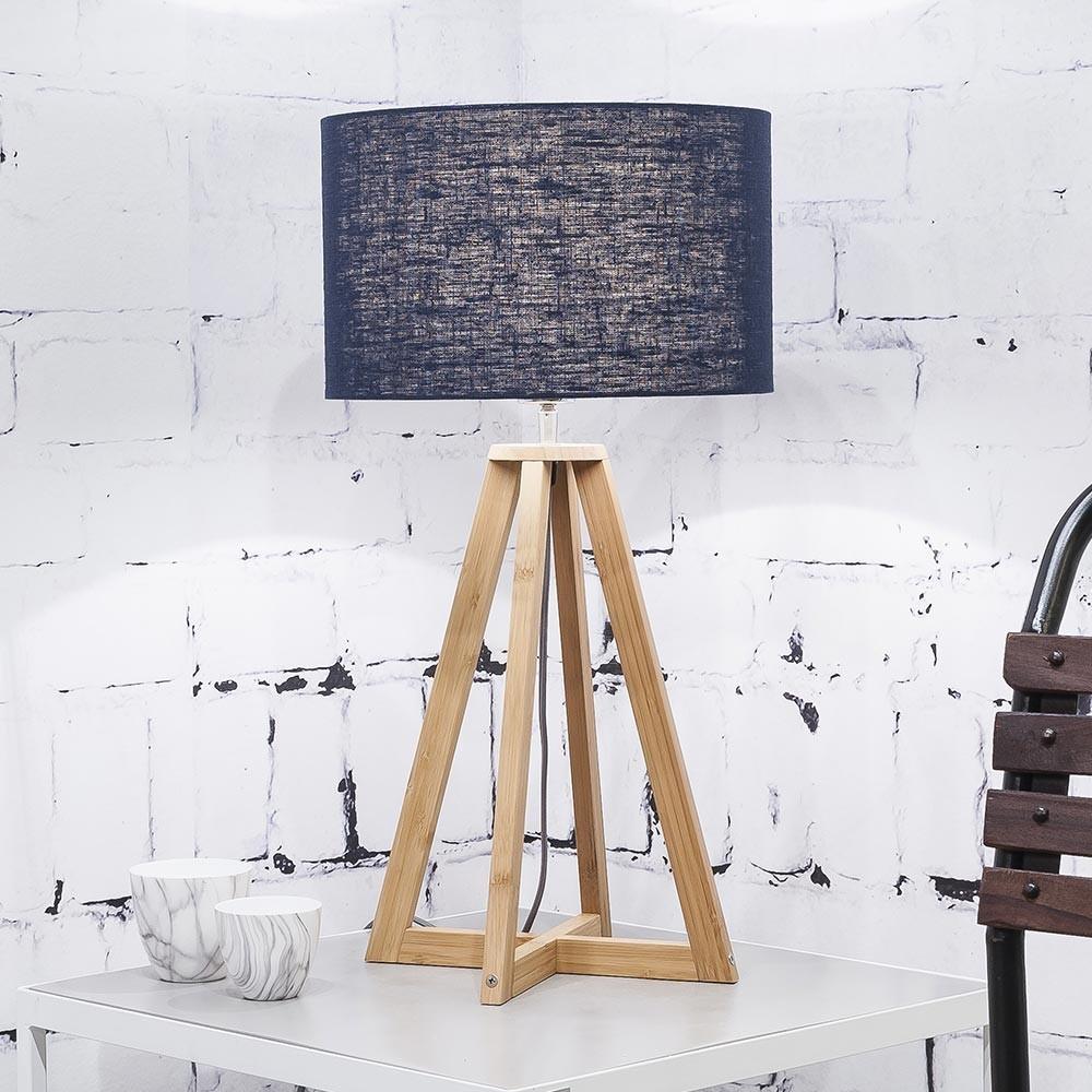 Everest table lamp linen blue denim Good & Mojo