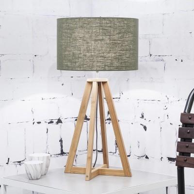 Tafellamp Everest bosgroen linnen Good & Mojo