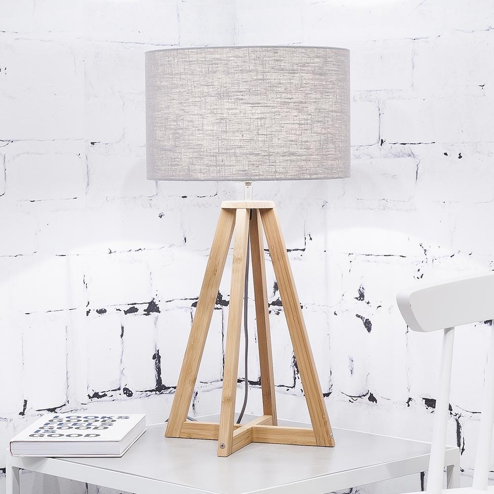 Tafellamp Everest in lichtgrijs linnen Good & Mojo