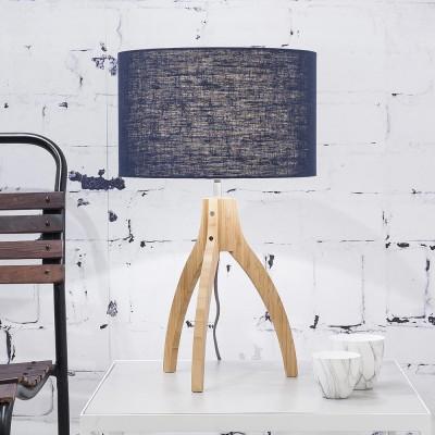 Denimblauw linnen Annapurna tafellamp Good & Mojo