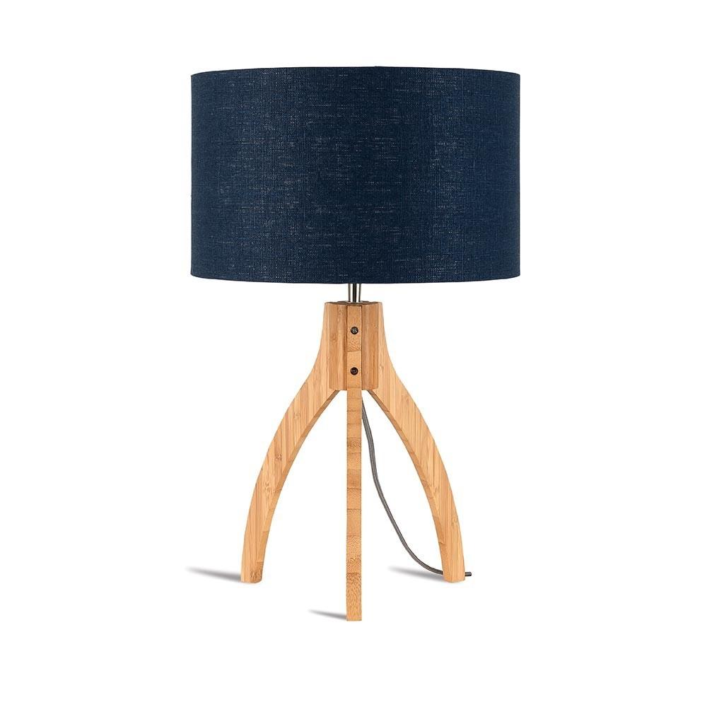 Lampe à poser Annapurna lin bleu denim Good & Mojo