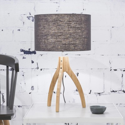 Annapurna tafellamp in donkergrijs linnen Good & Mojo
