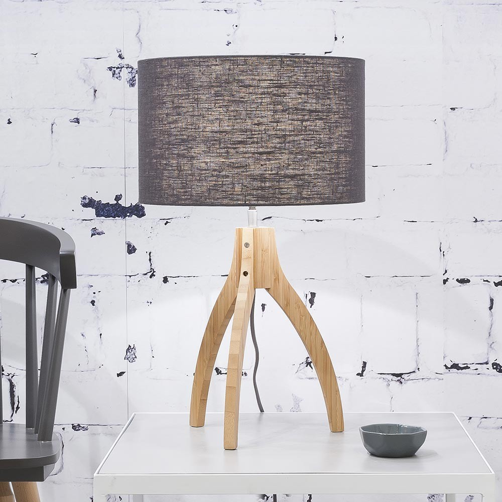 Annapurna table lamp linen dark grey Good & Mojo