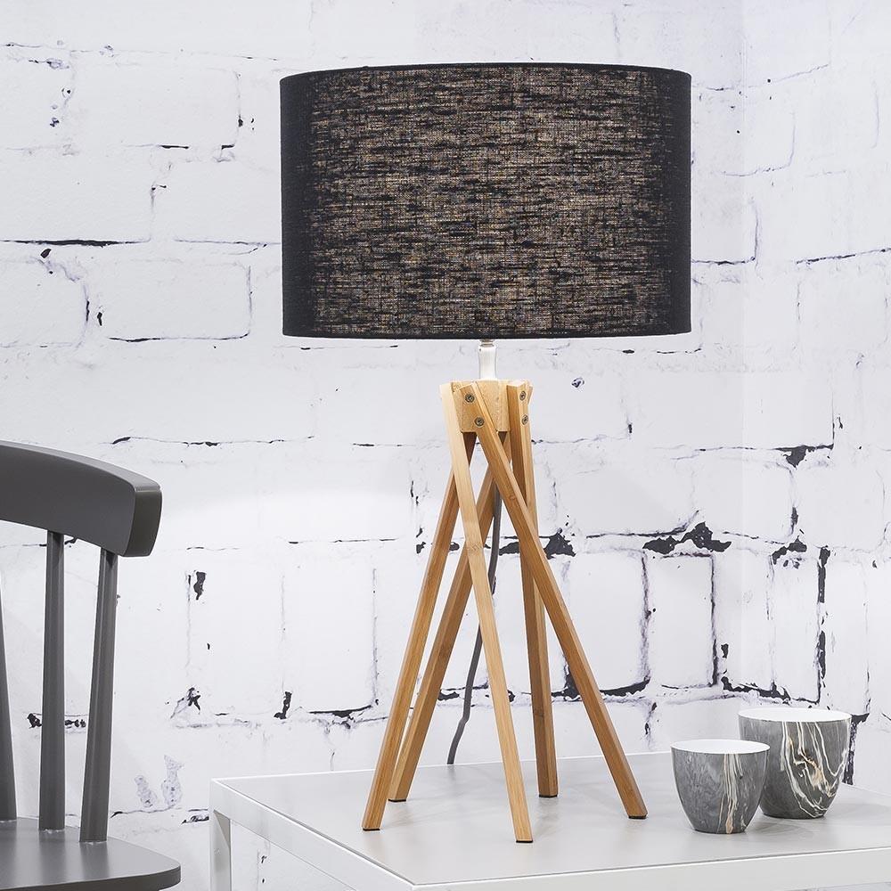 Kilimanjaro table lamp linen black Good & Mojo