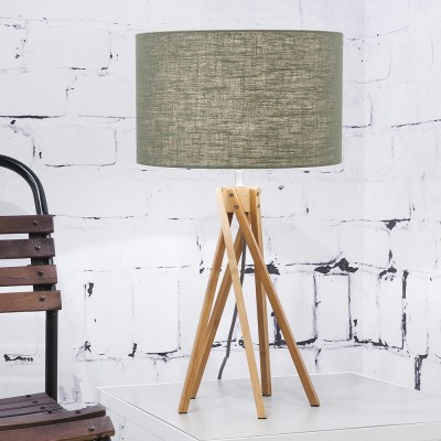 Kilimanjaro table lamp linen green forest Good & Mojo