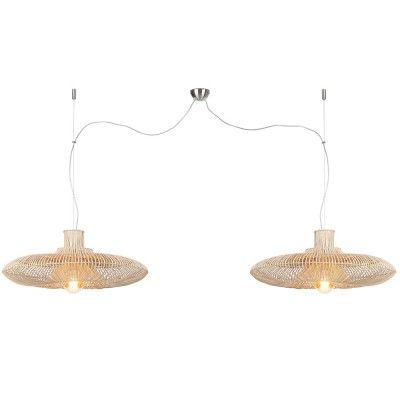 Kalahari dubbele hanglamp naturel rotan L Good & Mojo