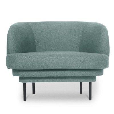 Kroonlijst fauteuil zwart & blauwe stof ENOstudio
