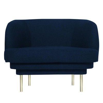 Cornice armchair brass & night blue velvet ENOstudio